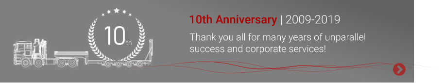 10 th 10th Anniversary | 2009-2019 Thank you all for many years of unparallel success and corporate services!